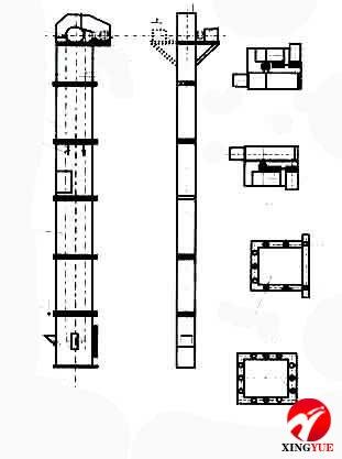 td-d型斗式提升机基本结构