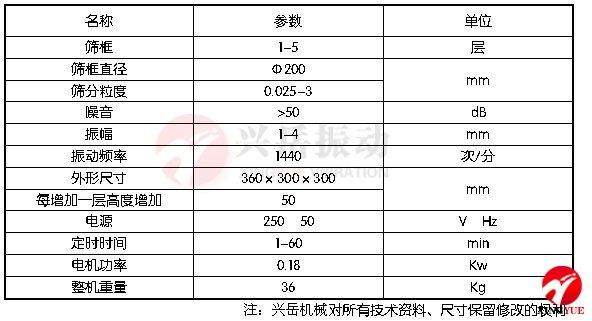 试验筛技术参数表